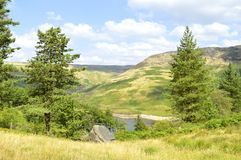 Dovestones reservoir. Dovestone Reservoir lies at the convergence of the valleys of the Greenfield and Chew Brooks above the village of Greenfield, on Stock Photography