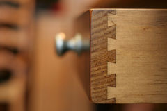 Dovetail. Joints on a drawer show the quality of the reproduction piece stock image