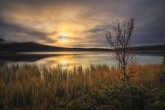 Dovrefjell mountains, sunrise at Hjerkinnsdammen lake. Norwegian autumn royalty free stock photography