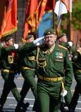 Dowódca ceremonialny obliczenie oddzielna kolejowa brygada, Colonel Igor Orlov podczas parady na placu czerwonym, zdjęcia royalty free