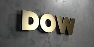 Dow - Goldzeichen angebracht an der glatten Marmorwand - 3D übertrug freie Illustration der Abgabe auf Lager lizenzfreie abbildung
