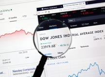 Dow Jones Industrial Average DJI. MONTREAL, CANADA - JANUARY 10, 2019: Dow Jones Industrial Average DJI Index chart. Dow Jones Industrial Average, is a stock royalty free stock image