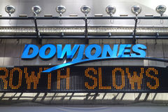 Dow Jones News Ticker. A Dow Jones news ticker in Times Square, New York City. Dow Jones & Company is a publishing and financial information firm Stock Photos