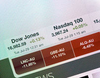 Dow Jones- und Nasdaq-Indizes auf iPad Anzeige lizenzfreies stockfoto