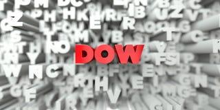 DOW - Texto vermelho no fundo da tipografia - 3D rendeu a imagem conservada em estoque livre dos direitos ilustração stock