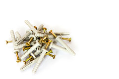 Dowel and screw Royalty Free Stock Images