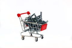 Dowels gray in the shopping cart Royalty Free Stock Photo