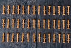 Dowels na drewnianym tle Obrazy Royalty Free