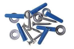 Dowels screws and washers Royalty Free Stock Photos