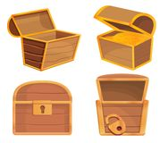 Dower chest icons set, cartoon style vector illustration