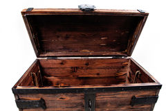 Dower chest retro, open empty. Royalty Free Stock Images