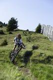 Dowhnill do extrem de Mountainbike Foto de Stock