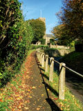 Dowlish Wake - Somerset. Autumn leaves scatter along the pathway to the Church of St Andrew at Dowlish Wake, Somerset Stock Images