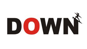 Down. Text down with  a figure, going downwards Stock Photography