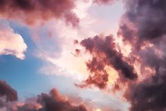 Down Angle Photography of Red Clouds and Blue Sky Royalty Free Stock Images