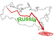 Down arrow on a background map of Russia №11 Royalty Free Stock Image