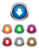 Down arrow buttons. Collection of down arrow buttons in various colors Royalty Free Stock Images