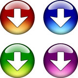Down Arrow glossy button icon Stock Photos