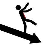 Down with the arrow. Vector / illustration. Man slip down on arrow Royalty Free Stock Photos