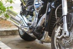 Black sport Bike on road. Down Black sport Bike on road Stock Image