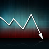 Down2. Business arrow graphic moving down. world crisis royalty free illustration