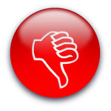 Down button. Red glossy button with a thumb turned down Vector Illustration