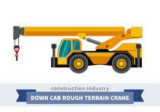 Down cab rough terrain crane vector illustration
