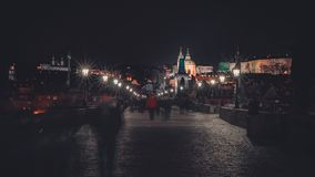 Charles Bridge at Night stock images