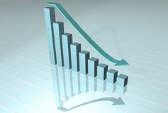 Down chart. Colorful 3d growth chart and desceding arrow with reflection Royalty Free Stock Photo