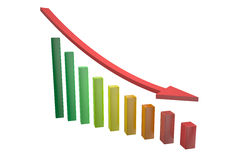 Down chart with arrow Stock Photography