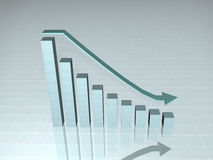 Down chart sideview. Colorful 3d growth chart and desceding arrow with reflection Stock Photos
