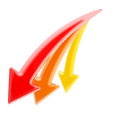 Down and decline: three declining arrows isolated. Down and decline: set of three red, orange, yellow declining arrows isolated on white Stock Photography