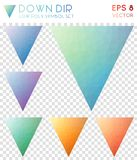 Down dir geometric polygonal icons. Appealing mosaic style symbol collection. Ecstatic low poly style. Modern design. Down dir icons set for infographics or Stock Image