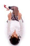down floor lying pointing woman Στοκ φωτογραφίες με δικαίωμα ελεύθερης χρήσης