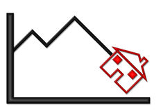 Down Graph with House Illustration. Black shiny graph with down trend and house symbol vector illustration