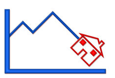 Down Graph with House Illustration. Blue shiny graph with down trend and red house symbol vector illustration