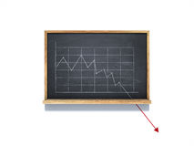 Down graphic sketch on chalkboard. On white background Stock Photo
