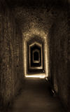 Down the Hall. Spooky narrow long hall in castle leads off into darkness Royalty Free Stock Photo