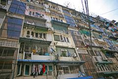 Down high rise apartments in Yangon, Myanmar. Low grade high density flats in the capital of Burma, Yangon old Rangoon stock image