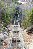 Down the hill Railway, train track, with forest and blue sky Royalty Free Stock Images