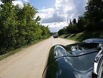 Down the Hood. A view down a Jaguar bonnet Royalty Free Stock Photos