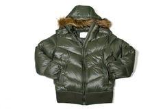 Down jacket. Fashion cloth winter dark green down jacket Royalty Free Stock Image