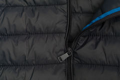 Down Jacket. Close up of down jacket with zipper Royalty Free Stock Images