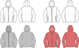 Down jacket. Vector illustration of mens winter down jacket. Front and back views Royalty Free Stock Photography