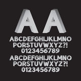 Down Left and Right Isometric Font and Numbers Royalty Free Stock Photos