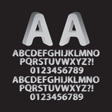 Down Left and Right Rounded Isometric Font and Num Stock Images