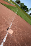 Down the Line. An interesting perspective of a shot down the left field line Stock Image