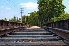 Down low on the tracks Stock Photography