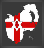 Down Northern Ireland map with Ulster banner national Stock Image