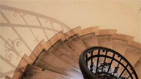 Down the old spiral staircase in the building stock video footage